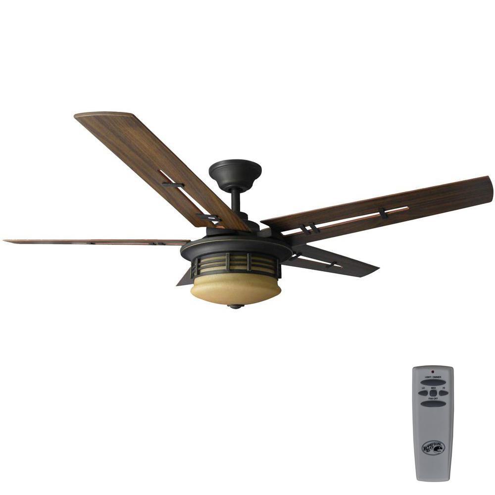 Hampton Bay Windward Light Bulb: Oil Rubbed Bronze Ceiling Fan Light W Remote 52 In Modern