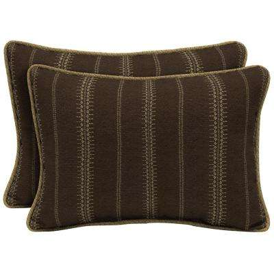 Trevor Stripe Espresso Oversize Lumbar Outdoor Throw Pillow with Welt (2-Pack)