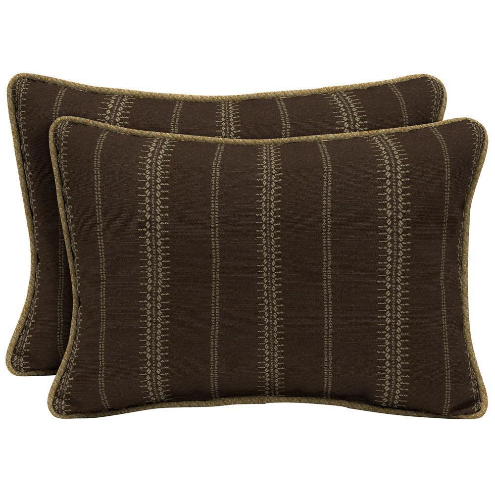 Trevor Stripe Espresso Oversize Lumbar Outdoor Throw Pillow with Welt (2-Pack)