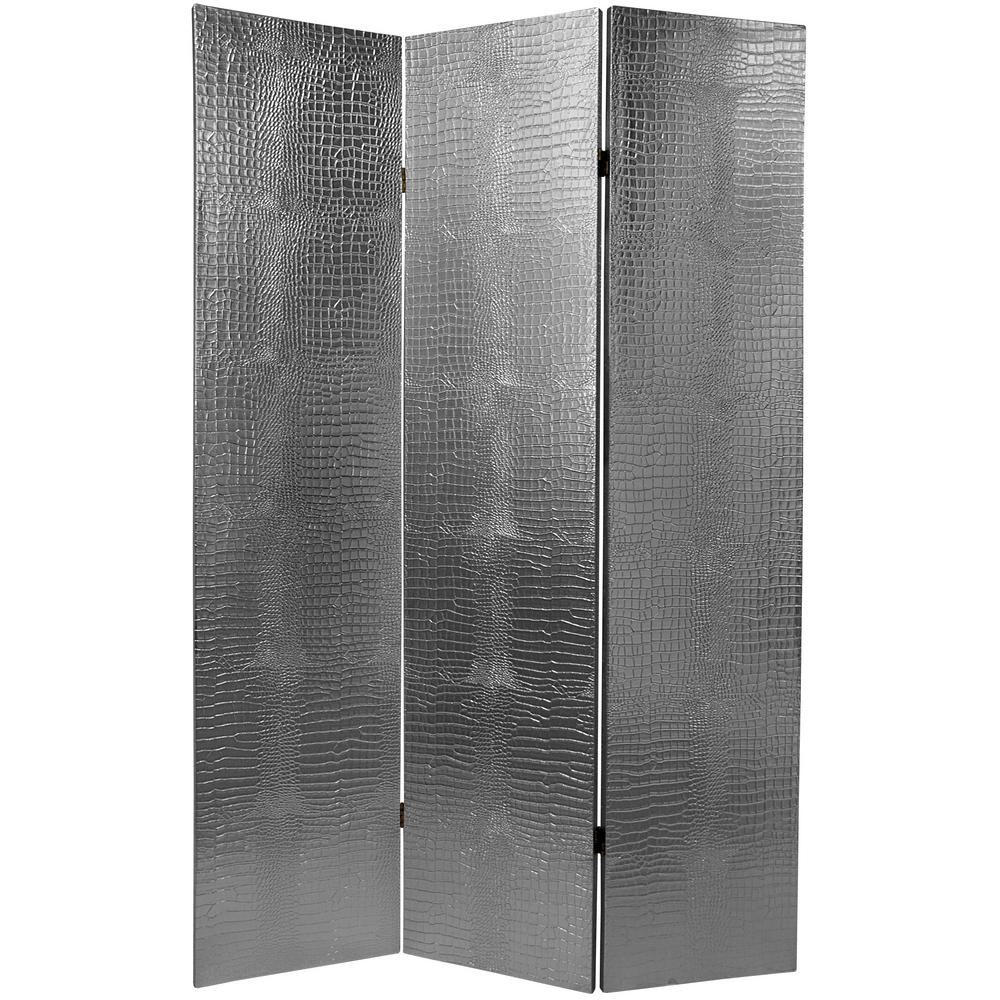 Oriental Furniture 6 Ft. Silver Faux Crocodile Leather 3 Panel Room Divider