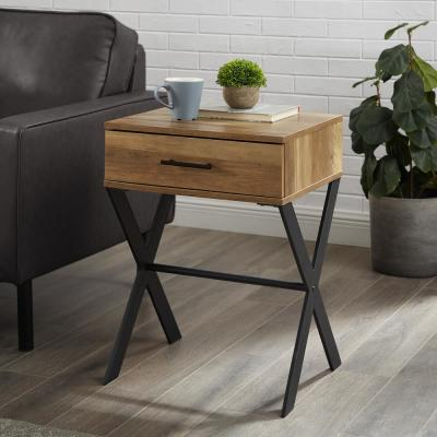 18 in. x Leg 1-Drawer Metal and Wood Side Table - Reclaimed Barnwood