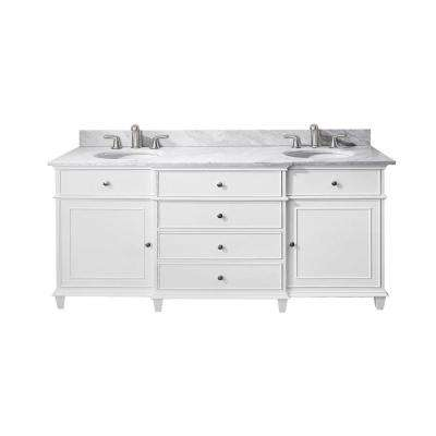 Windsor 73 in. W x 23 in. D x 35 in. H Vanity in White with Marble Vanity Top in Carrara White and White Basins