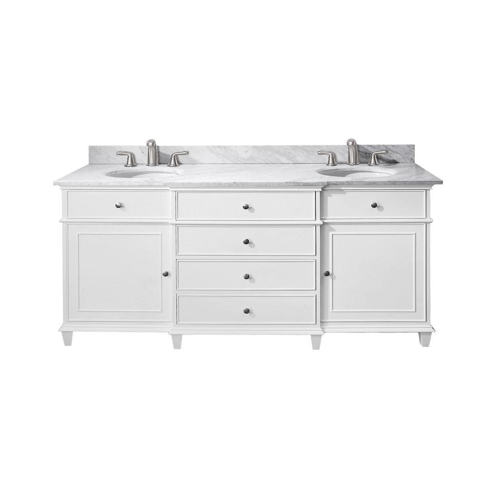 Avanity Windsor 73 in. W x 23 in. D x 35 in. H Vanity in White with Marble Vanity Top in Carrara White and White Basins