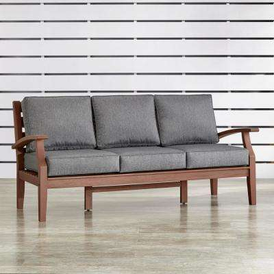 Verdon Gorge Brown 1-Piece Oiled Wood Outdoor Sofa with Gray Cushions