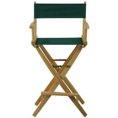 30 in. Extra-Wide Natural Wood Frame/Hunter Green Canvas Seat Folding Directors Chair