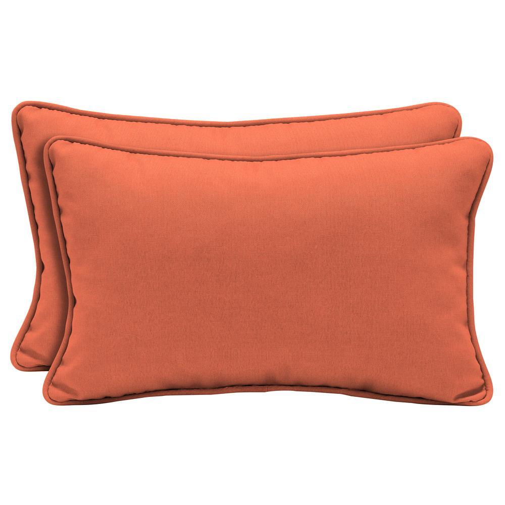 Home Decorators Collection Sunbrella Canvas Melon Lumbar Outdoor Throw Pillow 2 Pack