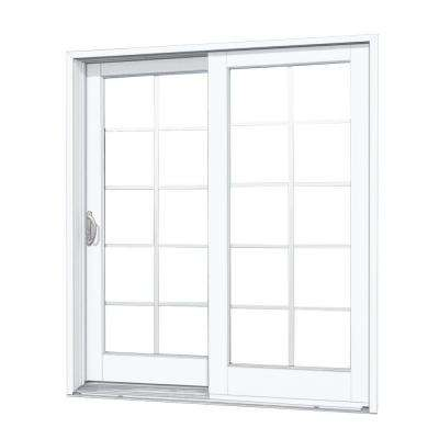72 in. x 80 in. Woodgrain Interior and Smooth White Exterior Left-Hand Composite Sliding Patio Door with 10-Lite GBG