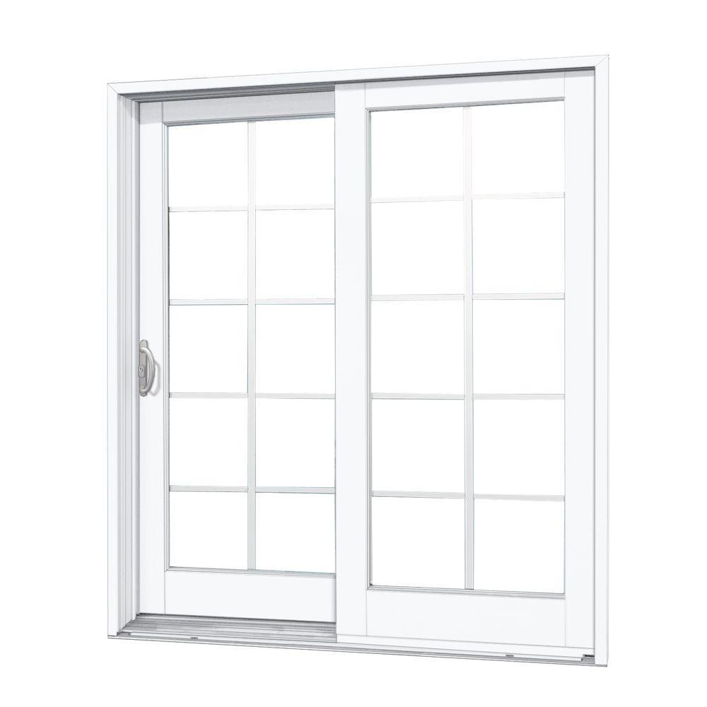 60 in. x 80 in. Woodgrain Interior and Smooth White Exterior Left-Hand Composite DP50 Sliding Patio Door, 10-Lite SDL