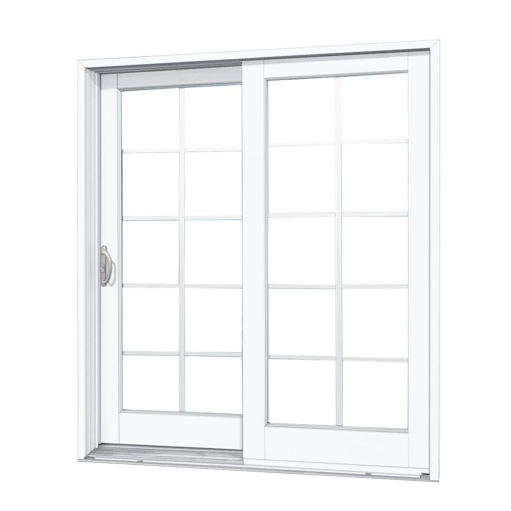 MP Doors 60 in. x 80 in. Woodgrain Interior, White Exterior Composite Left Hand Sliding Patio Door with 10 Lite GBG