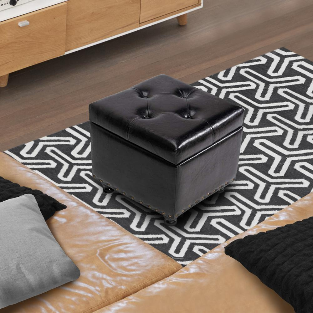 Brown Storage Ottoman Faux Leather Tufted 17.3'' Footrest Holds Up to 300 Lbs