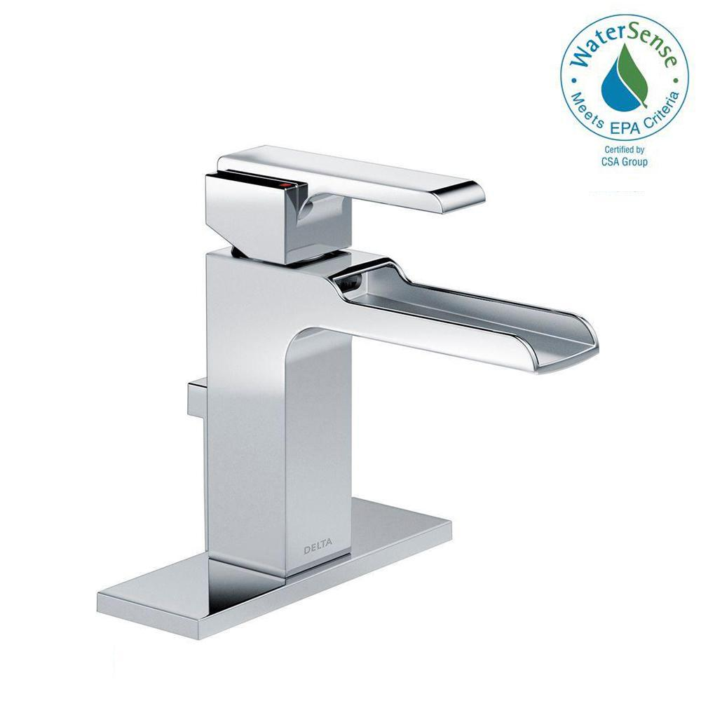 Delta Ara Single Hole Single-Handle Open Channel Spout Bathroom Faucet with Metal Drain Assembly