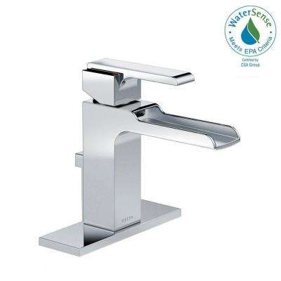 Ara Single Hole Single-Handle Open Channel Spout Bathroom Faucet with Metal Drain Assembly in Chrome