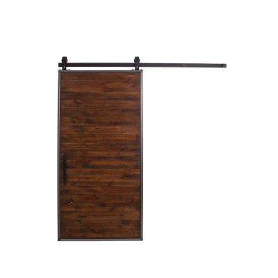42 in. x 84 in. Mountain Modern Stain, Glaze, Clear Wood Barn Door with Mountain Modern Sliding Door Hardware Kit