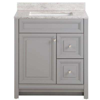Brinkhill 31 in. W x 22 in. D Bath Vanity in Sterling Gray with Stone Effect Vanity Top in Winter Mist with White Sink