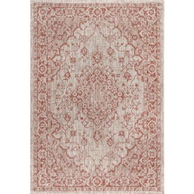 Rozetta Boho Medallion Red/Taupe 7 ft. 9 in. x 10 ft. Textured Weave Indoor/Outdoor Area Rug