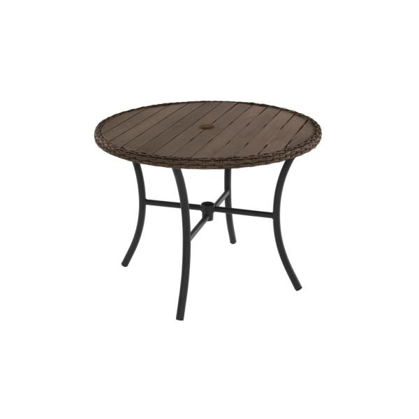 Hampton Bay Laguna Point 38 In Wicker Trim Round Outdoor Patio Dining Table 65 191933 The Home Depot