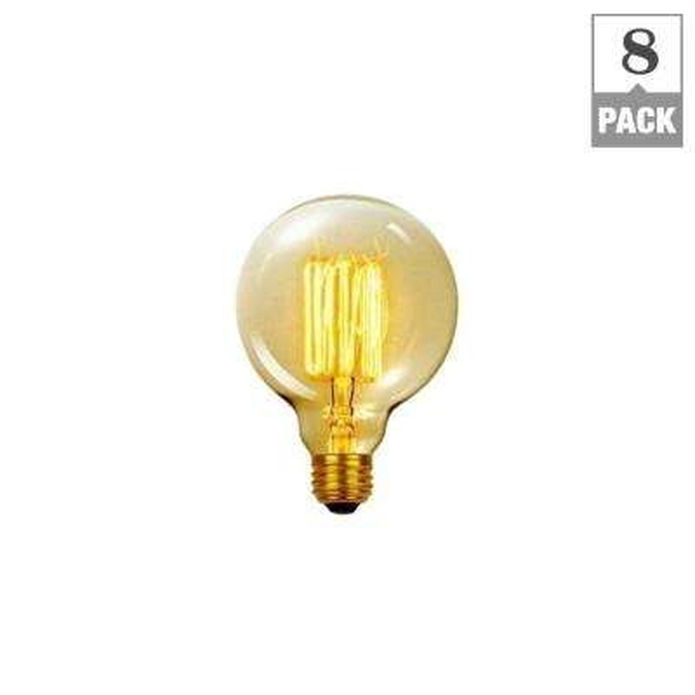 60-Watt Incandescent G30 Vintage Vanity Tungsten Medium Base Light Bulb - Vintage Style Light Bulb (8-Pack)