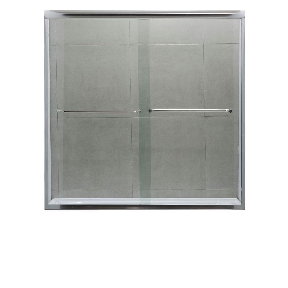 null Dreamwerks 60 in. x 60 in. Semi-Framed Bypass Shower Door in Polished Chrome