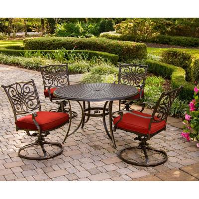 Traditions 5-Piece Aluminum Outdoor Dining Set with Red Cushions