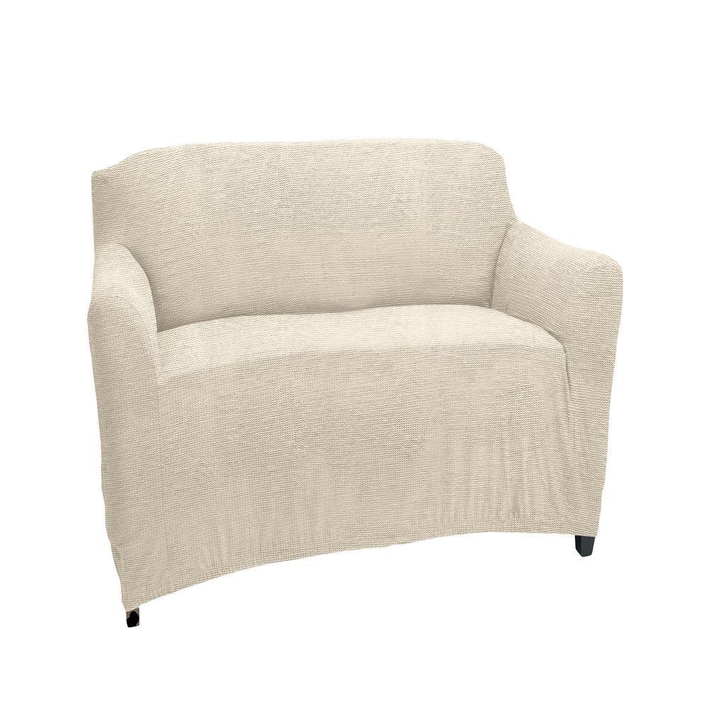 96.5 in. x 23.6 in. x 27.5 in. Zig Zag Ivory Stretch Chair Slip Cover