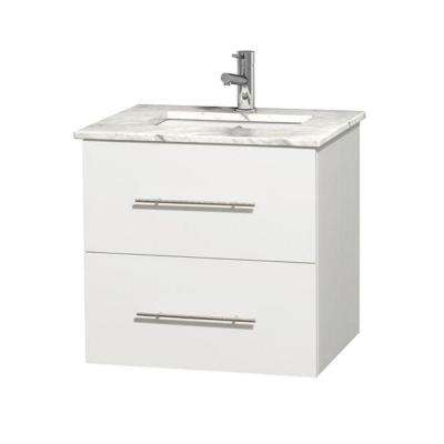 Centra 24 in. Vanity in White with Marble Vanity Top in Carrara White and Under-Mount Sink