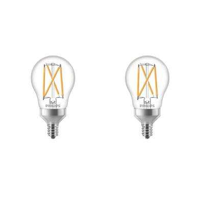 40-Watt Equivalent Soft White A15 Dimmable Candelabra Base LED Light Bulb with Warm Glow Dimming Effect (2-Pack)
