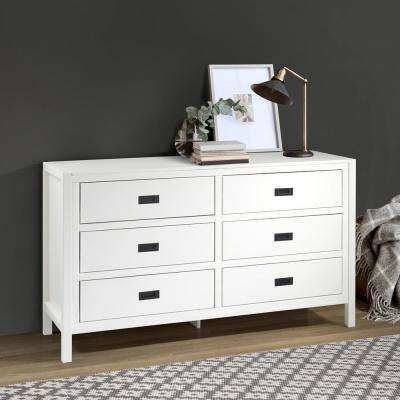 "57"" Classic Solid Wood 6-Drawer Dresser - White"