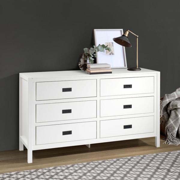 57'' Classic Solid Wood 6-Drawer Dresser - White