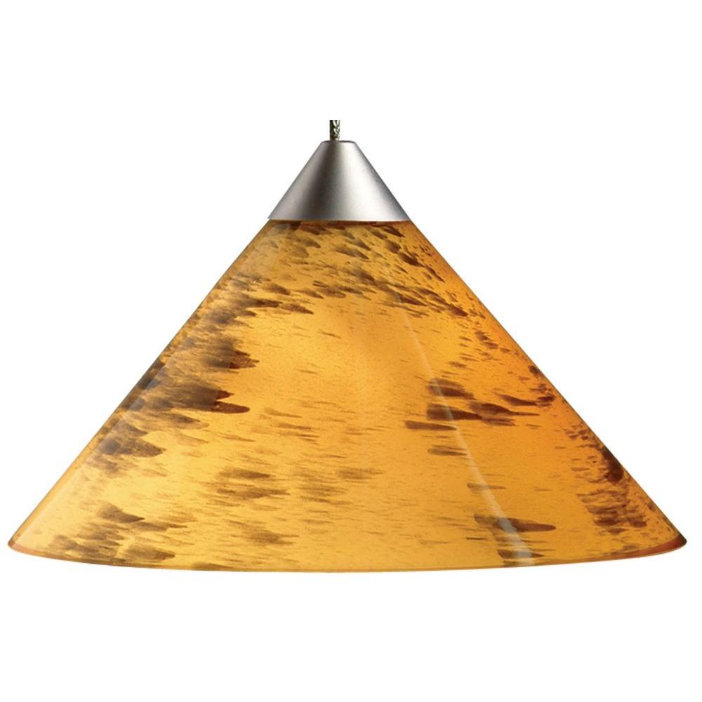 1-Light Amber Drift Hanging Mini Pendant