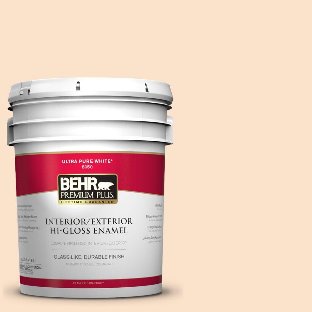BEHR Premium Plus 5-gal. #300C-2 Sand Dollar White Hi-Gloss Enamel Interior/Exterior Paint