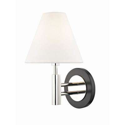 Robbie 1-Light Polished Nickel/Black Wall Sconce with Off White Linen Shade