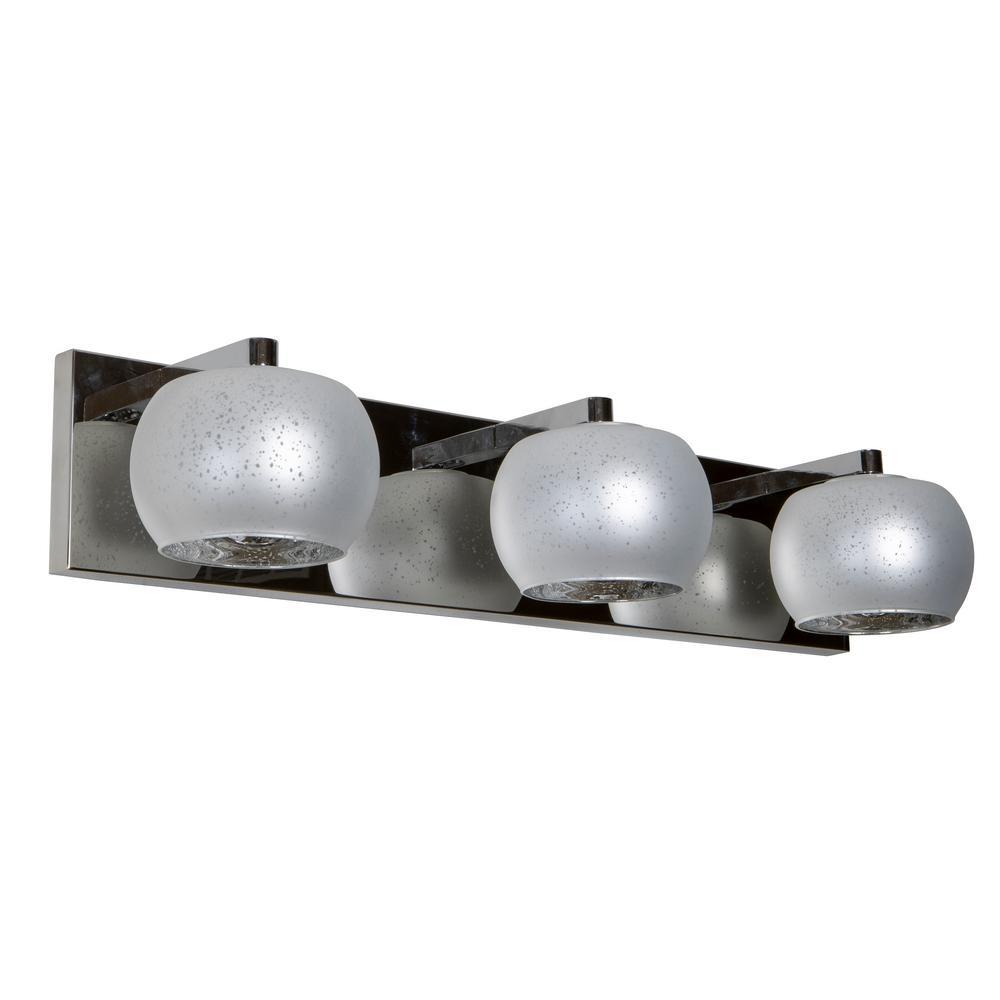 Jennings 3-Light Chrome and Silver Globe Shade Vanity Light