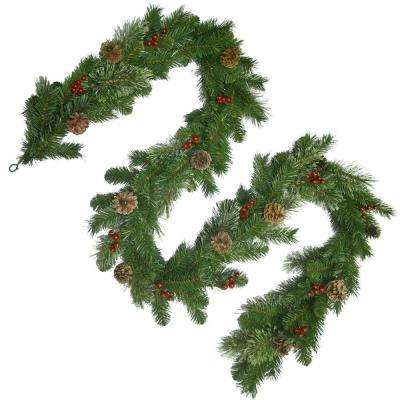 9 ft. Unlit Cashmere Artificial Garland with Pinecones and Red Berries