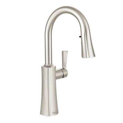 Etch Single-Handle Pull-Down Sprayer Kitchen Faucet with Reflex and Power Clean in Spot Resist Stainless