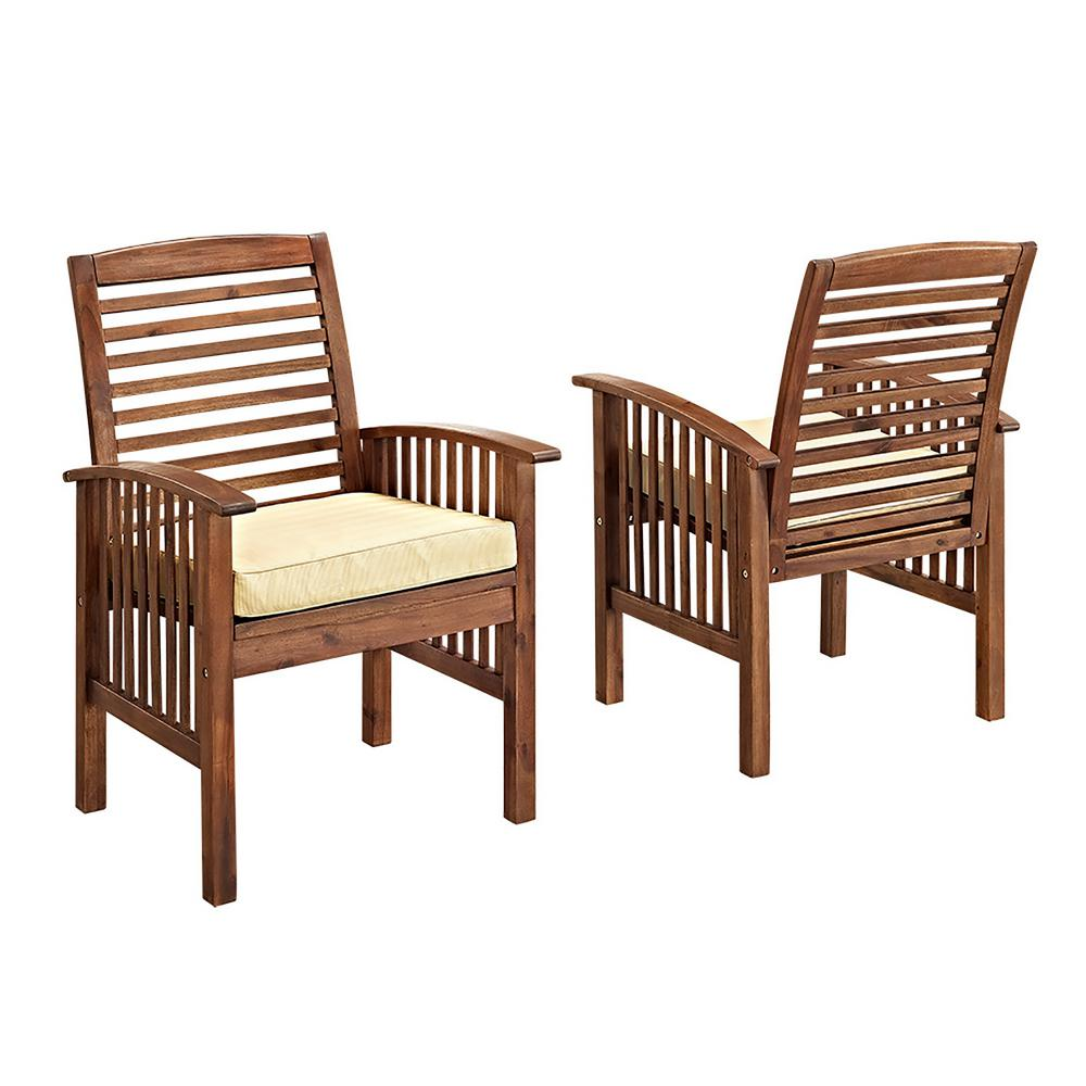 Walker Edison Furniture Company Boardwalk Dark Brown Acacia Outdoor Dining Chairs With White Cushions Set