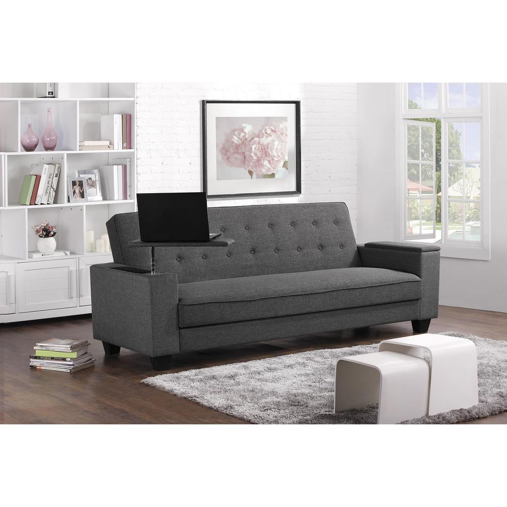 union     gray   futons  u0026 sofa beds   living room furniture   the home depot  rh   homedepot