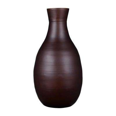 16 in. Decorative Handcrafted Glazed Bamboo Bottle Neck Vase in Brown