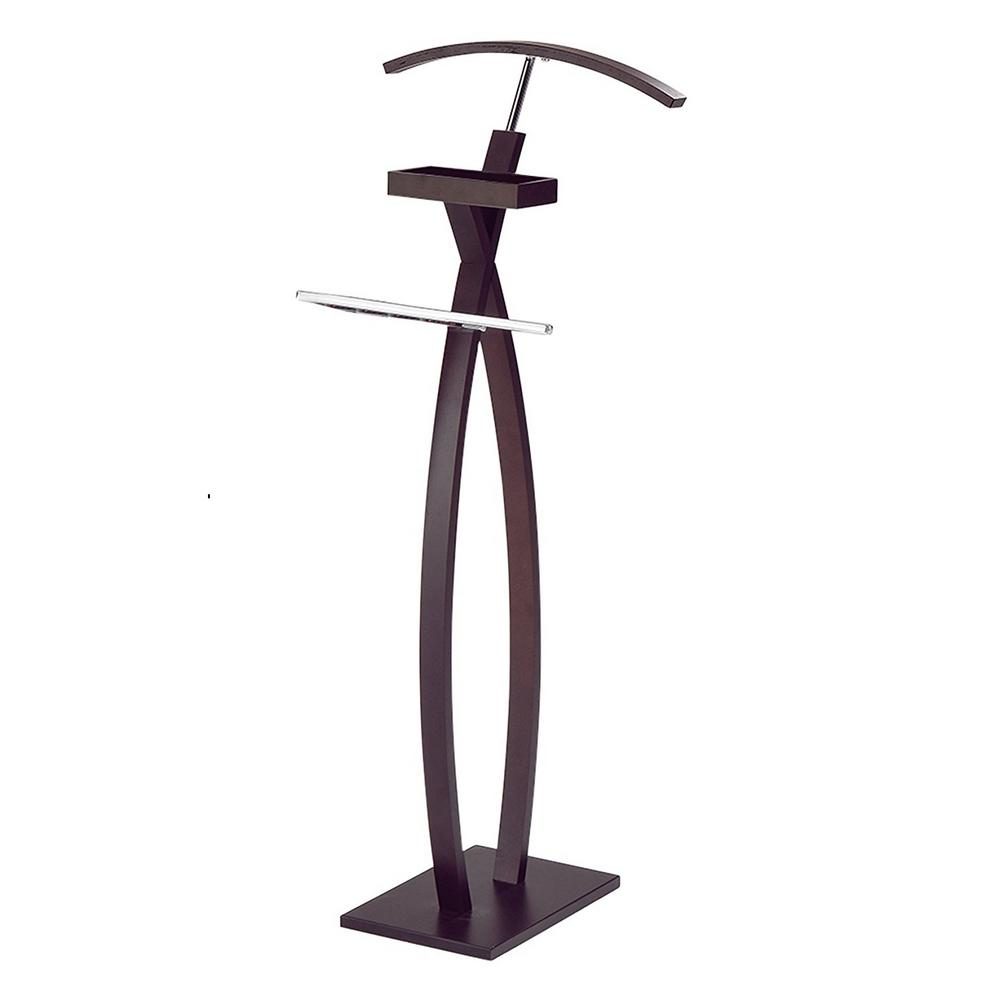 Superieur Kings Brand Furniture 18 In. X 46 In. Chrome / Walnut Wood Valet Stand