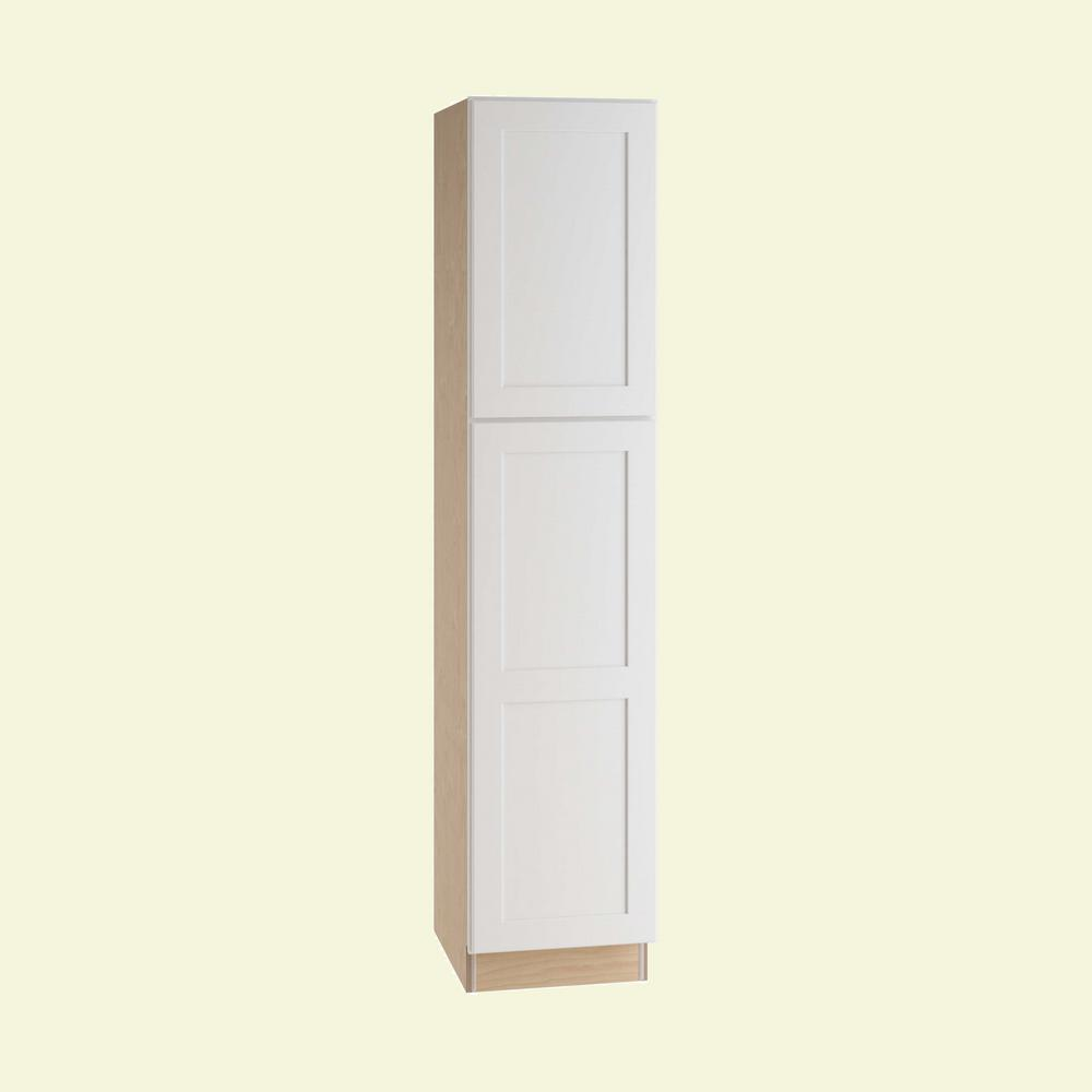 Home Decorators Collection Newport Assembled 18 x 84 x 24 in. Pantry/Utility Cabinet Right Hand in Pacific White