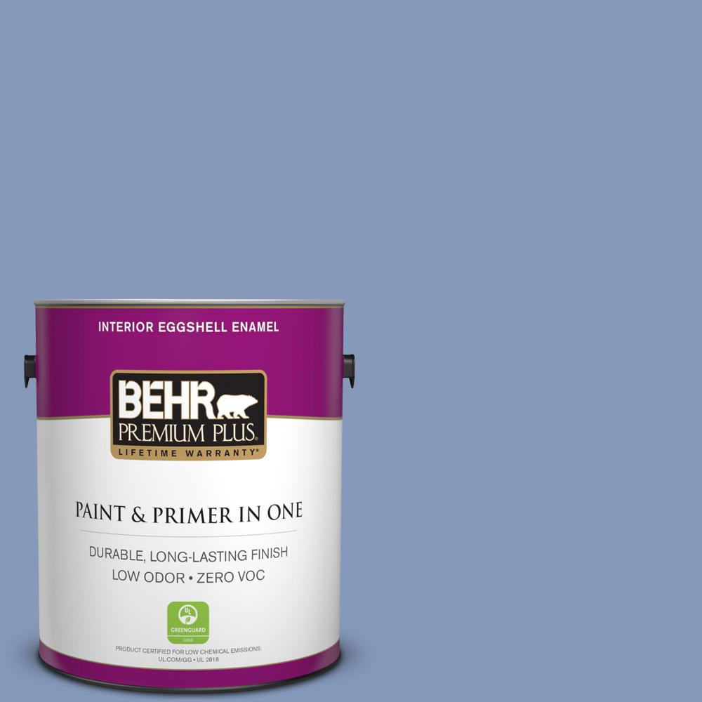 BEHR Premium Plus 1-gal. #610D-5 Blueberry Popover Zero VOC Eggshell Enamel Interior Paint