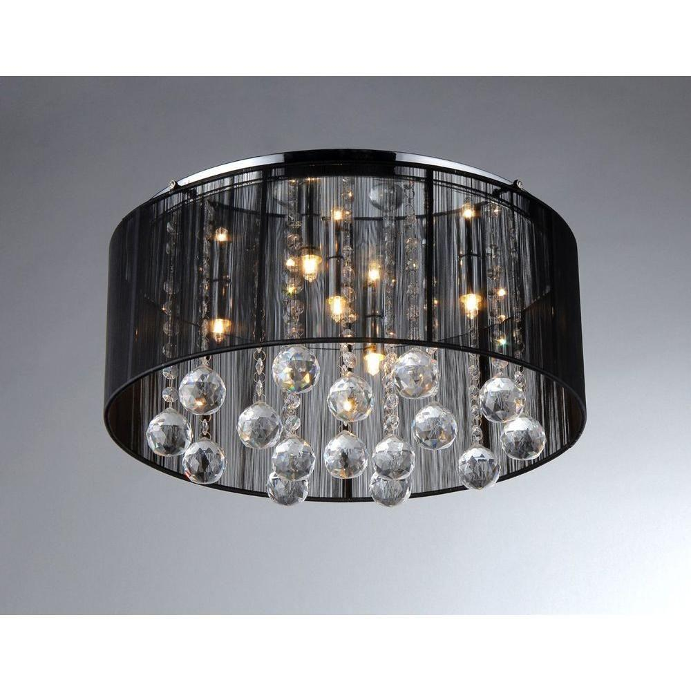 Warehouse Of Tiffany Jasmine 4-Light Black Crystal Ceiling