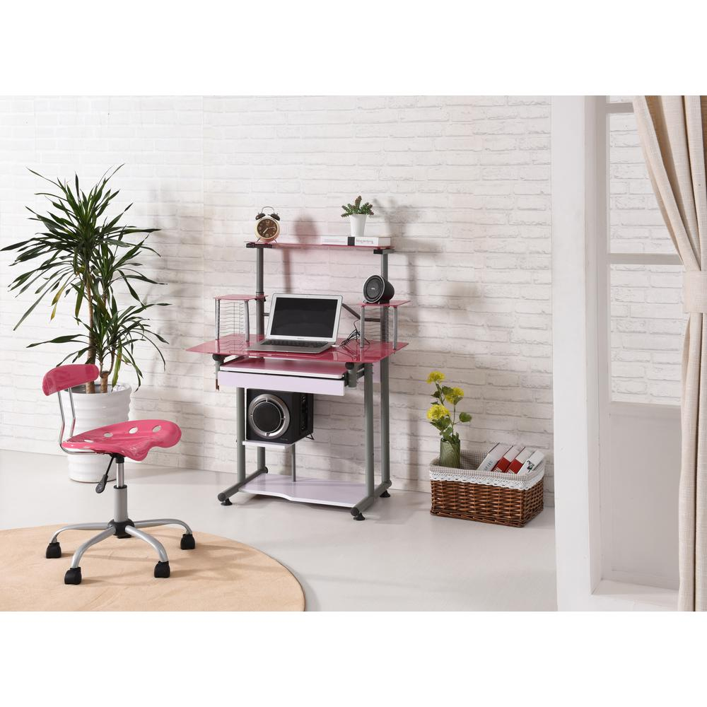 Hodedah Pink Glass Computer Desk With Pull Out Keyboard Tray