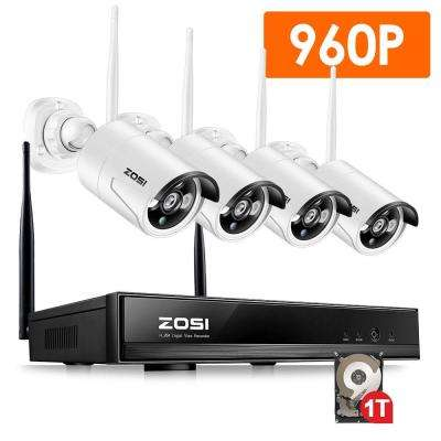 4-Channel 960p 1TB NVR Surveillance Security Camera System with 4 Wireless Cameras