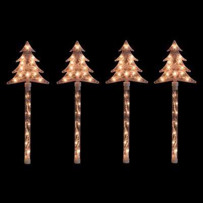 Lighted Christmas Tree Pathway Marker Lawn Stakes in Clear Lights (Set of 4)