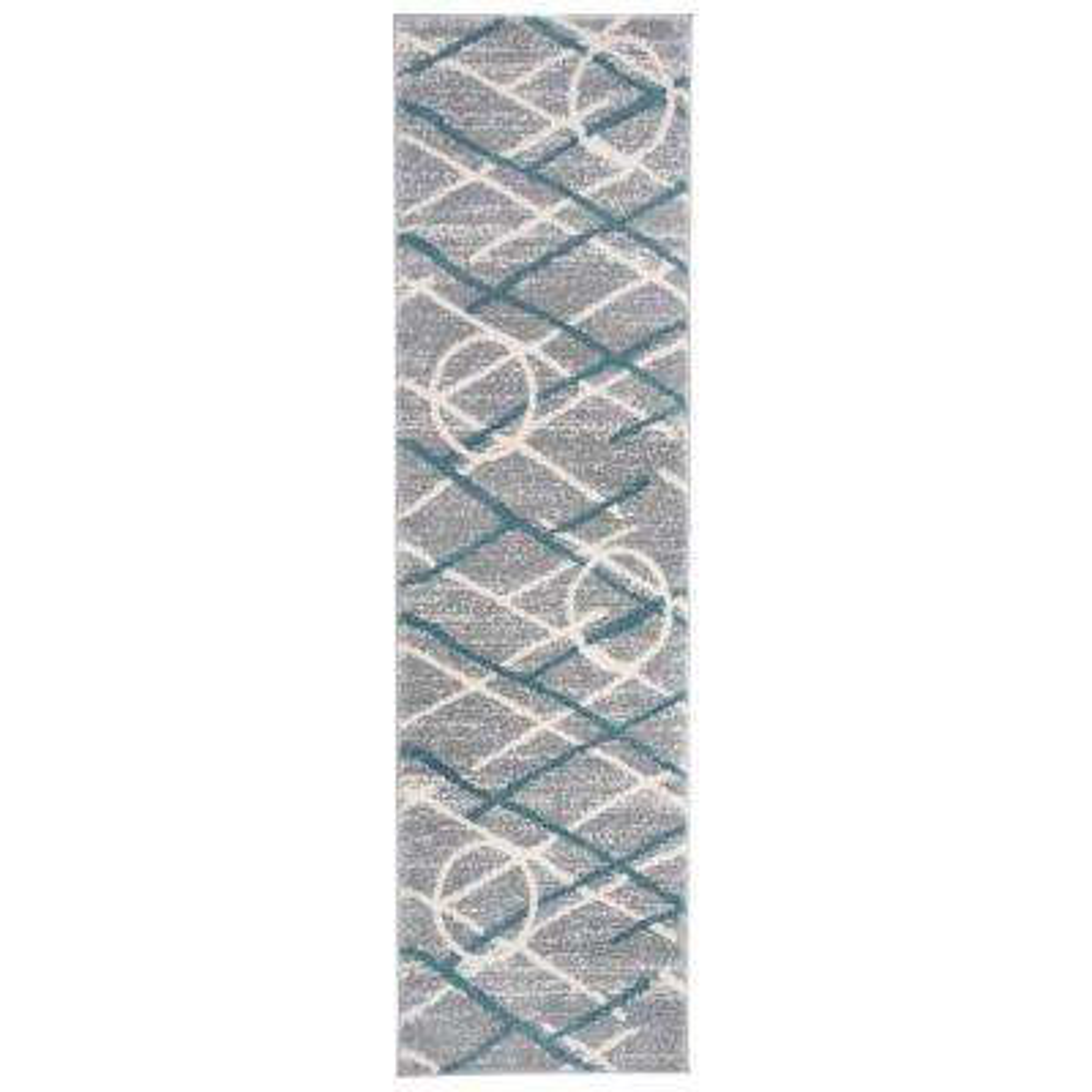 Contemporary Geometric Ultra Soft Shag Blue 2 ft. x 7 ft. Runner Rug
