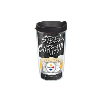 NFL Pittsburgh Steelers Statement 16 oz. Double Walled Insulated Tumbler with Travel Lid