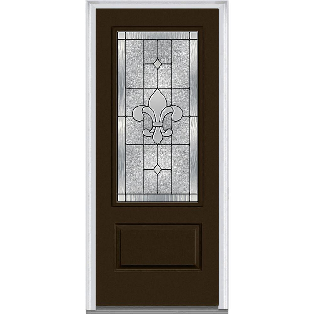 Mmi door 37 5 in x in carrollton decorative glass for Front door replacement home depot