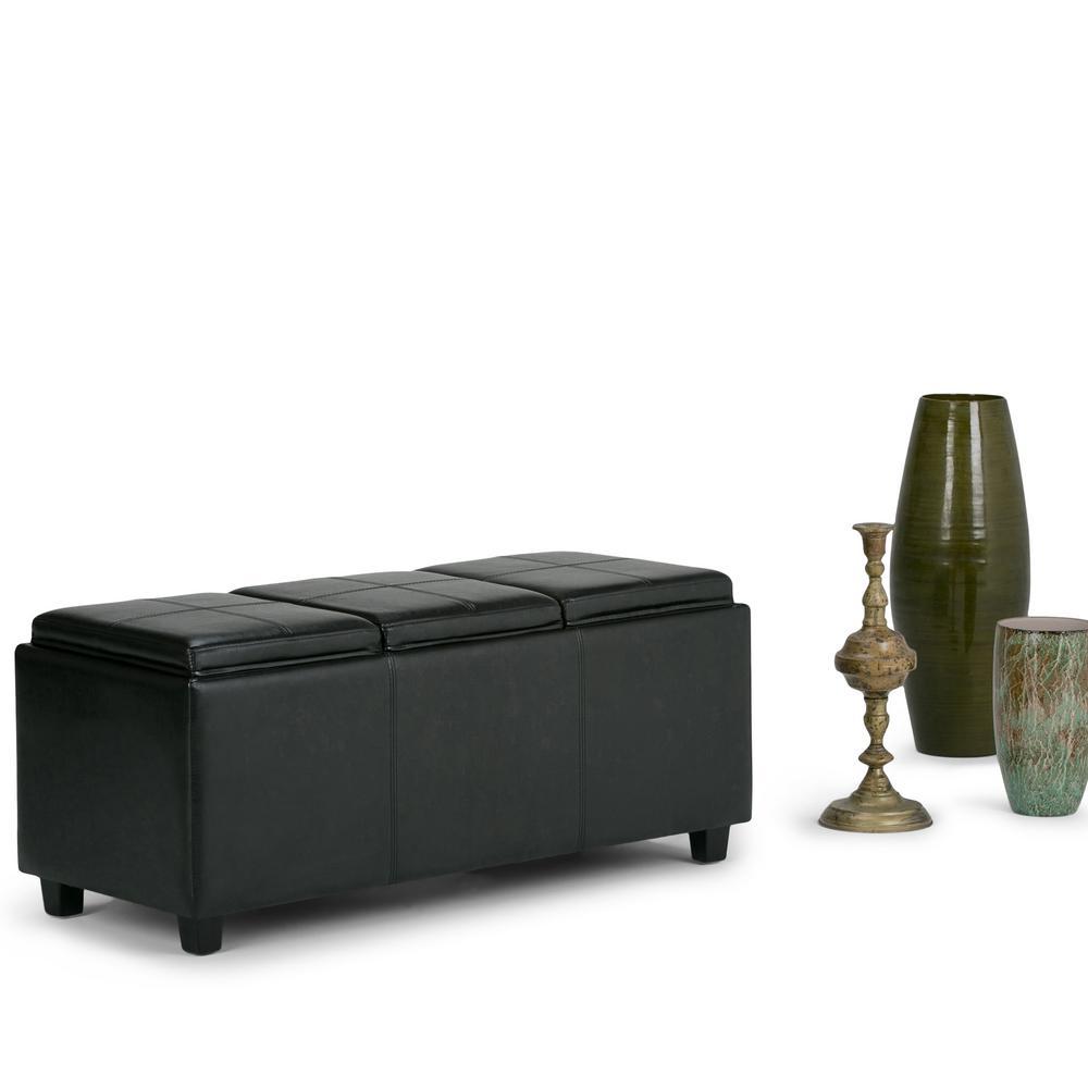 Simpli Home Avalon Black Storage Bench 3axcava Ottbnch