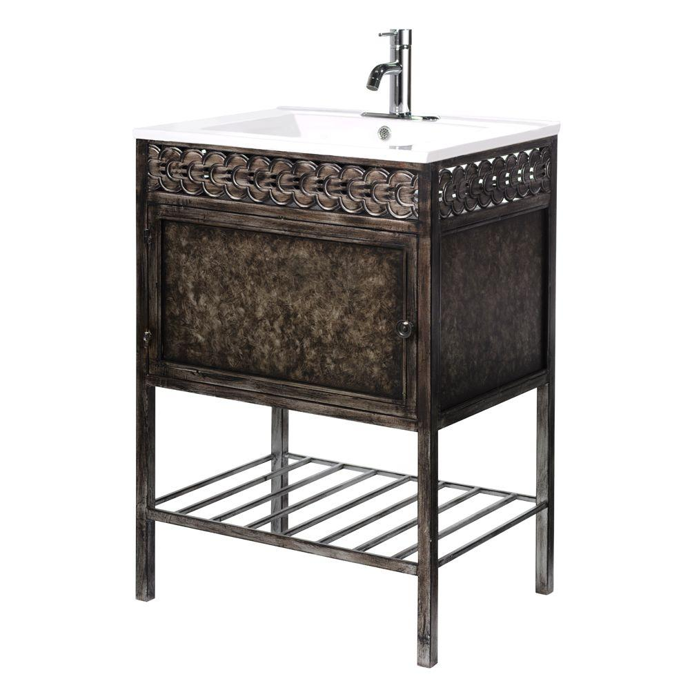 Home Decorators Collection Sydney 23.75 in. W Iron Vanity in Coppery with Porcelain Vanity Top in White