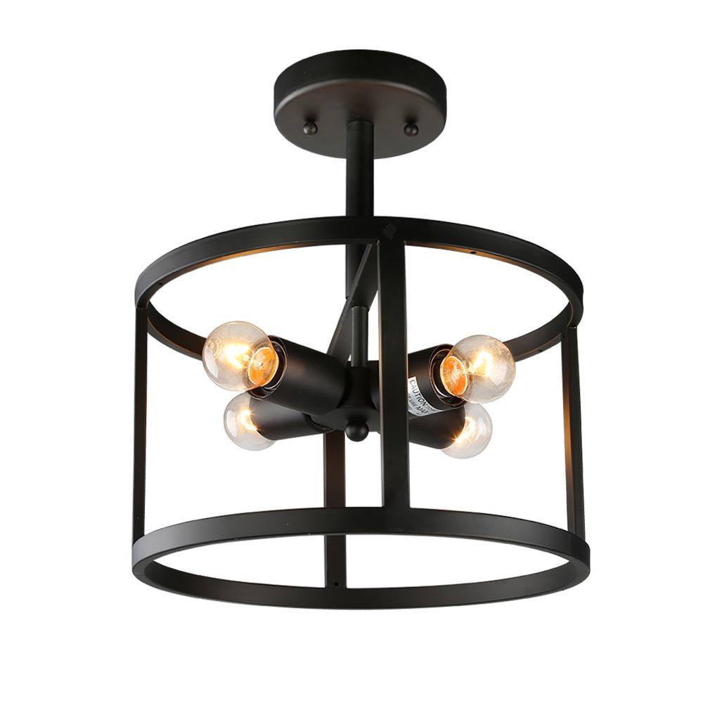 4-Light Black Drum Semi-Flush Mount Light